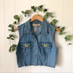 Vintage Denim Button Down Vest